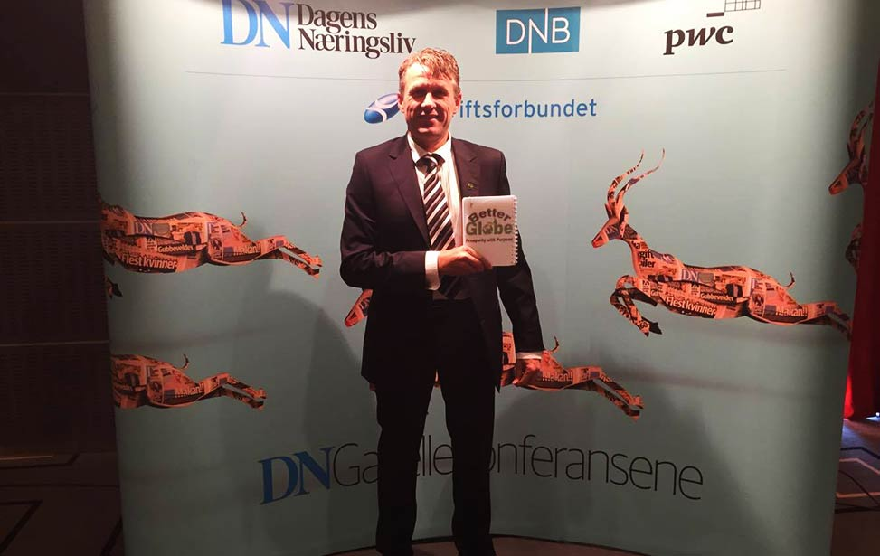 Dagfinn Rognerud received an award for Year's Gazelle Company in Norway on behalf of Better Globe AS