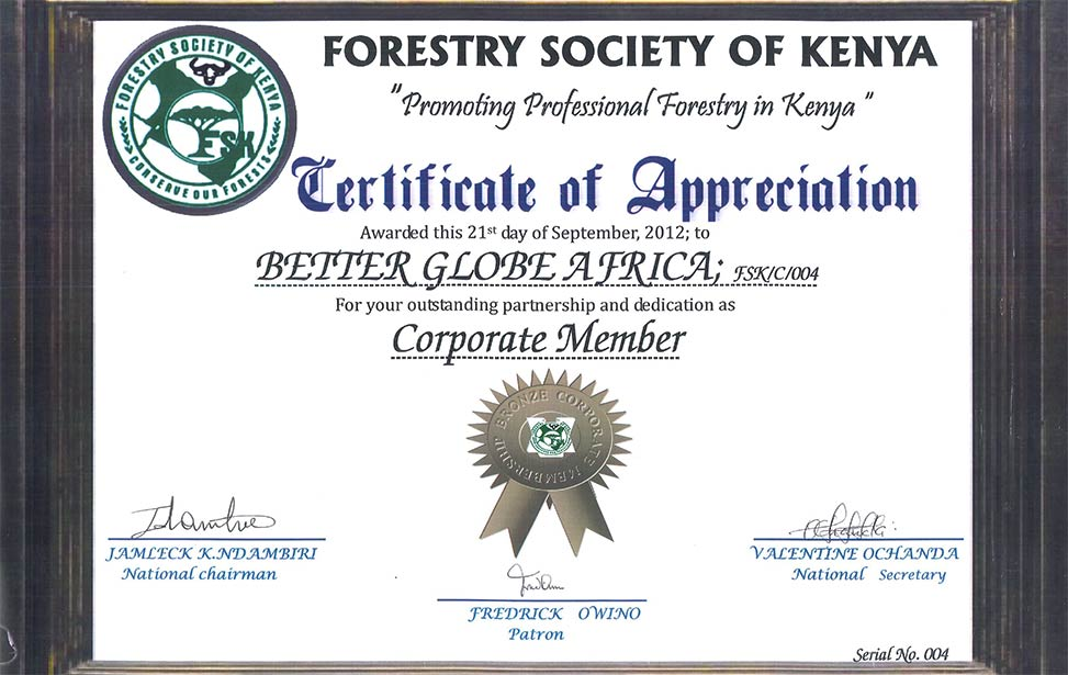 Better Globe Forestry awarded for promoting professional forestry in Kenya