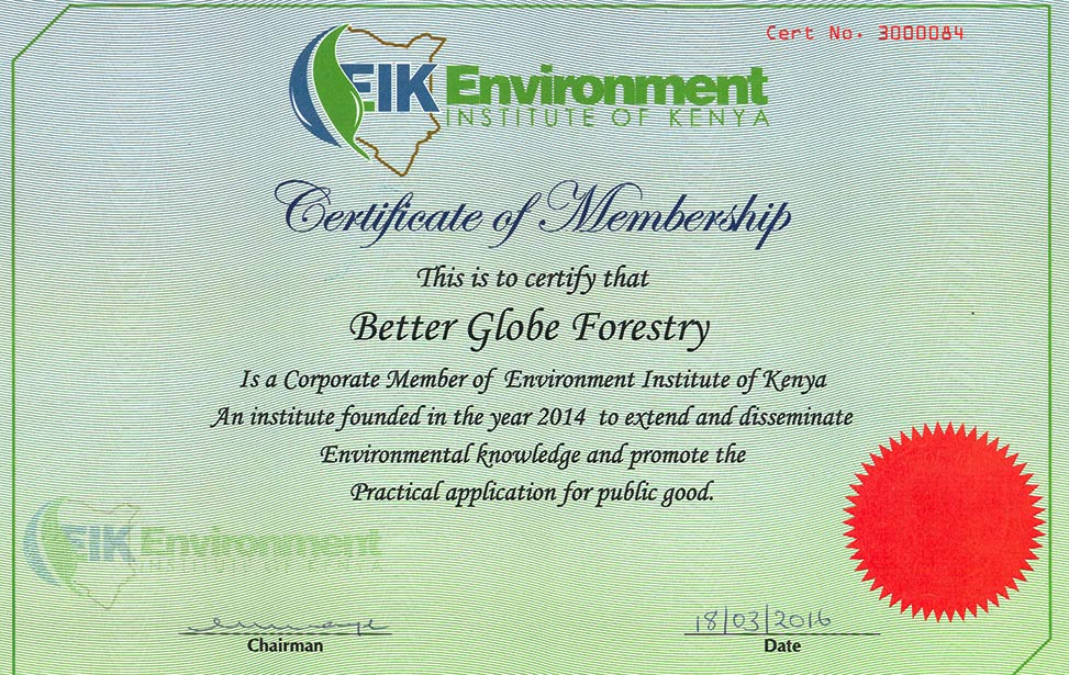 Better Globe Forestry is a corporate member of Environment Institute of Kenya (EIK)