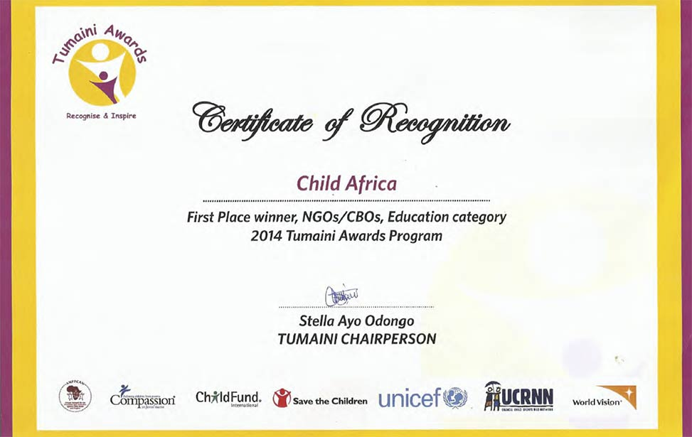 Child Africa won the prestigious Tumaini Award in the category Education