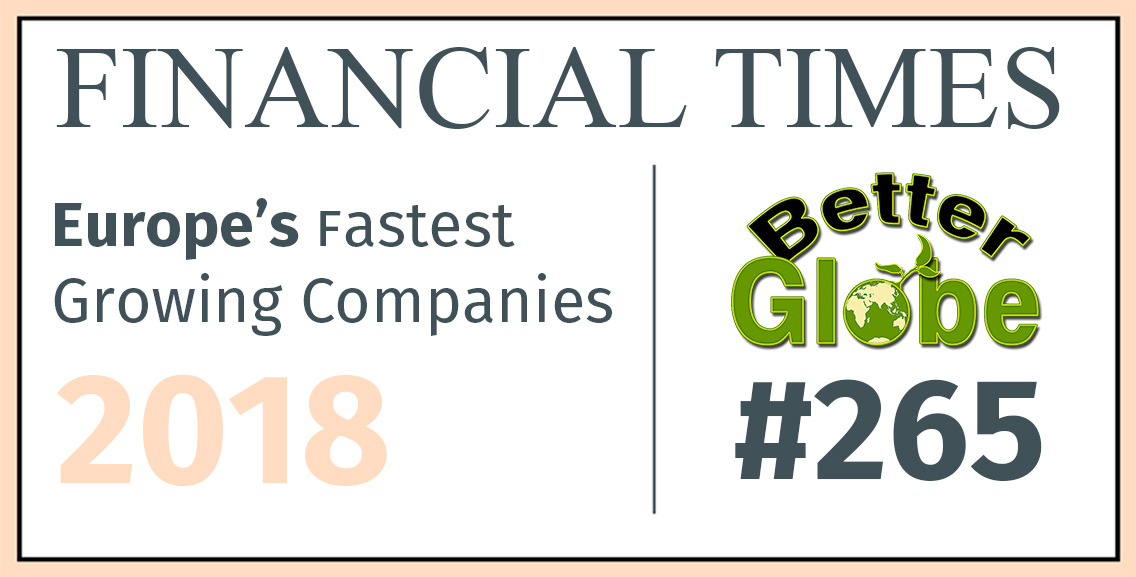 Better Globe AS earned the position of 265 on the Financial Times list of fastest growing companies in Europe 2018