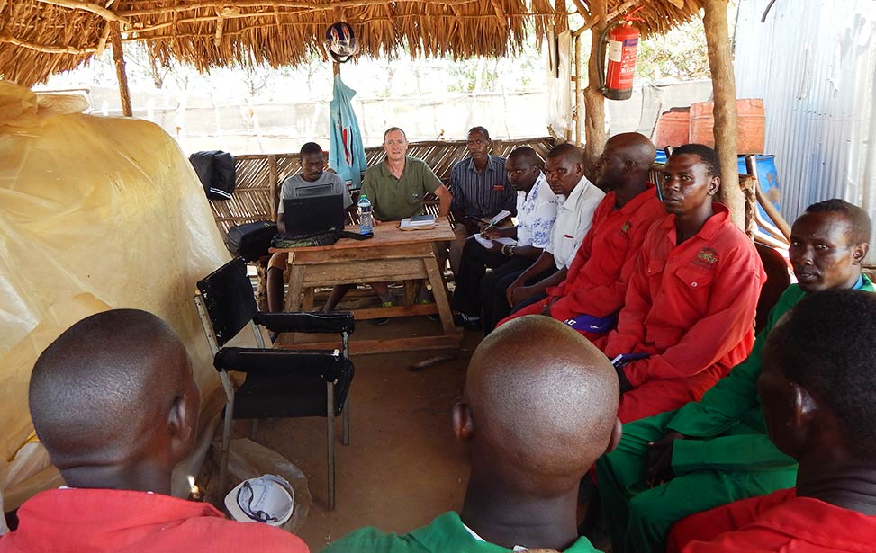 Field team meeting in Nyongoro
