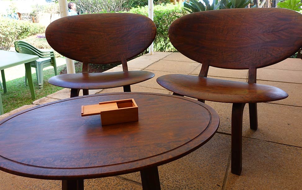 Furniture made of mukau wood, outside Better Globe Forestry's headquarter