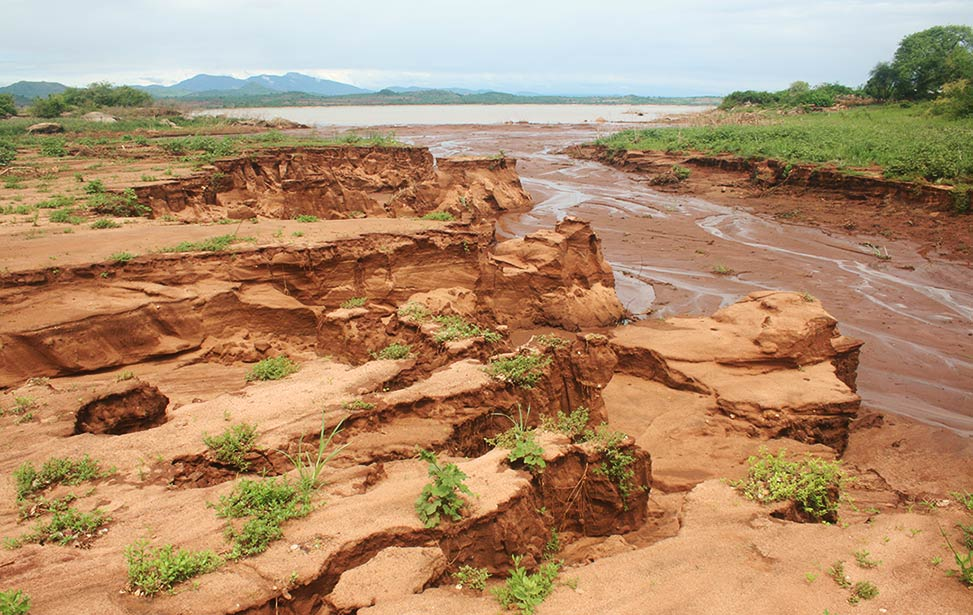 The soil soil erosion carries sediment yield into Kiambere Lake