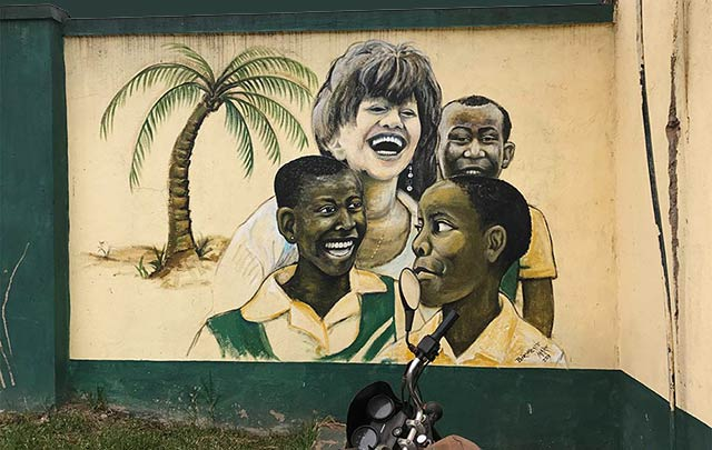 Painting of Julie Solberg with Child Africa children
