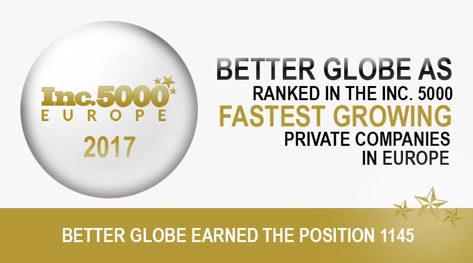Better Globe AS earned the position of 1145 on the 2017 Inc. 5000 Europe