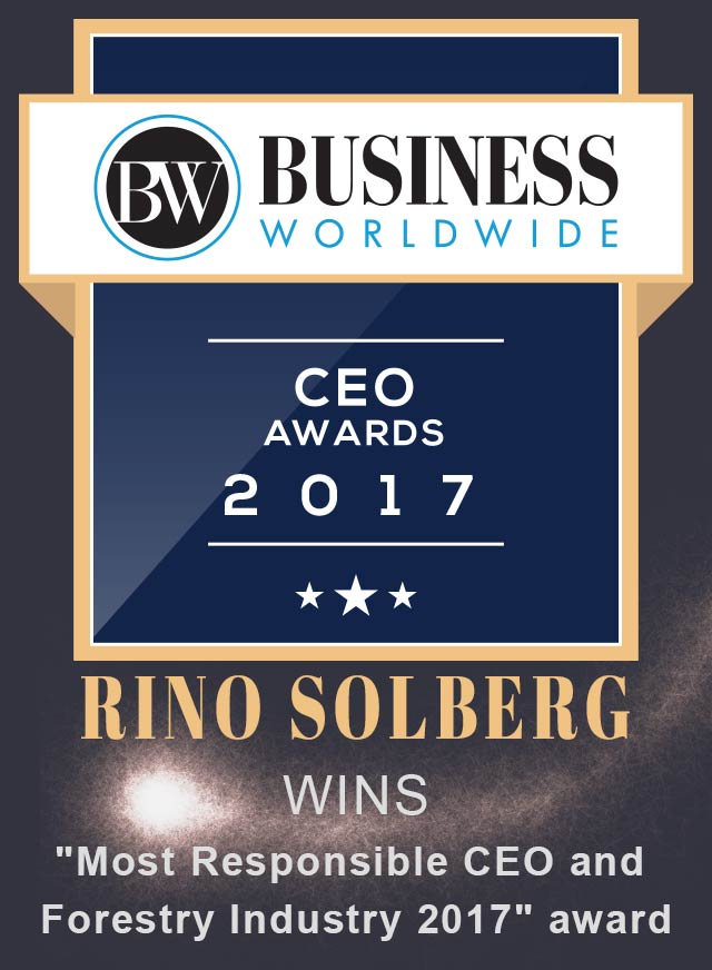 Rino Solberg won the Most Responsible CEO and Forestry Industry 2017 award